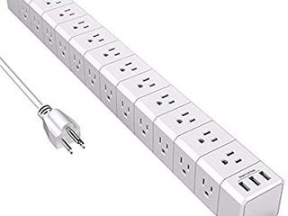 Power Strip with 36 AC Outlets 3 Sided  POWSAF Surge Protector 4100 Joules  and 3 USB Ports  8 Feet Heavy Duty Extension Cord  ETl listed  White