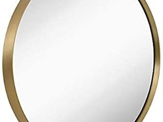18  Gold Circle Deep Set Metal Round Frame Mirror Contemporary Gold Wall Mirror   Glass Panel Gold Framed Rounded Circle  18  Round