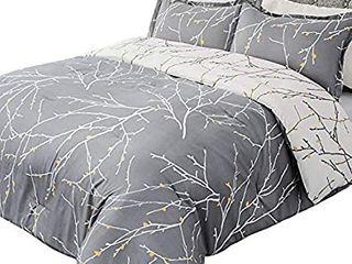 Bedsure Comforter Set Reversible Down Alternative Comforter Microfiber Duvet Sets  1 Comforter   2 Pillow Sham  Tree Branch Floral  Grey Ivory  size 102 x90
