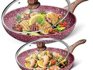 CSK 10 12 Nonstick Frying Cookware Sets with lids Frying Pan Sets with Whitford Granite Coating Classic Skillet Pan Cookware PFOA   APEO Free  Aluminum Alloy Bakelite Handle Induction Compatible