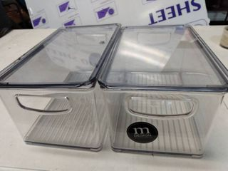 Mdesign Plastic Kitchen Food Storage With Handles  lid  2 Pack   Clear smoke