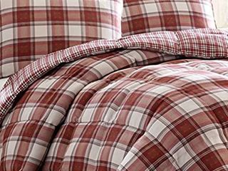 Eddie Bauer Edgewood Collection Plush Super Soft Micro Suede Premium Quality Down Alternative Comforter With Matching Shams  3 Piece Bedding Set  Reversible Plaid  Full Queen  Red