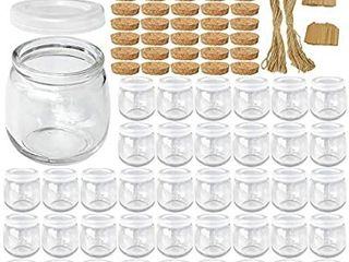 Syntic 40 Pcs 7 oz  225Ml  Glass Jars  Yogurt Jars with PE lids and Cork lids  Clear Pudding Jars Ideal for Jam  Honey  Spices Mousse  DIY and Art
