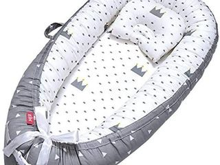 Baby Nest Baby lounger Co Sleeping Baby Bassinet for Bed Newborn lounger 100  Soft Cotton Breathable and Portable Crib with Pillow Perfect for Traveling and Napping