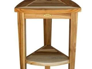 Teak Brown Modern  amp  Contemporary Compact Corner Teak Shower Seat  amp  Shaving Stand  Retail  124 95