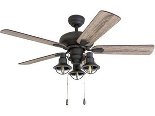 Prominence Home Piercy Coastal 42 Inch Aged Bronze Indoor Ceiling Fan  lantern lED Multi Arm Barnwood Tumbleweed Blades