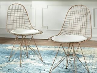 Simple living Eiffel Wire Chairs  Set of 2   Rose gold