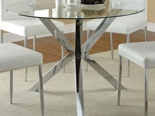 Incomplete  Table Base Only  Coaster Company Chrome Dining Table