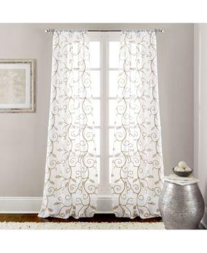 Modern Threads leaf Swirl Embroidered Curtain Panel Pair