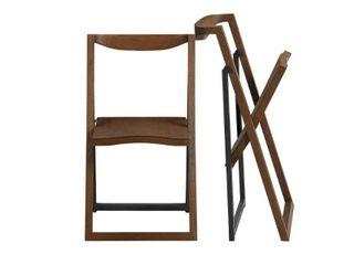 2pk Sydney Folding Chairs Wire Brush Chestnut   Boraam