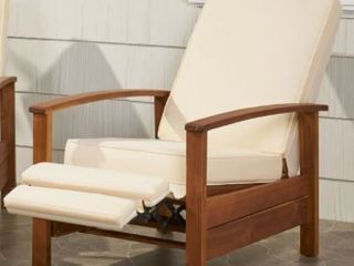 Sandblast Roslyn Outdoor Acacia Wood Push Back Recliner with Cushions by Christopher Knight Home Retail  642 49