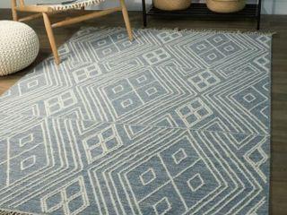 Devey Geometric Cotton Handmade Flatweave Area Rug  Retail 307 49