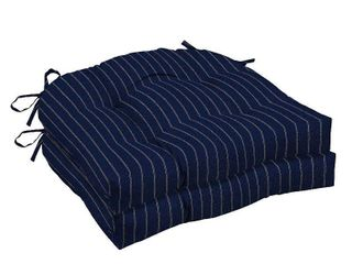 Arden Selections Navy Woven Stripe Outdoor Tufted Seat Cushion  6 Cushions