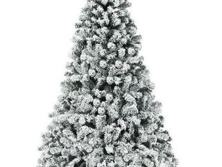 7 5 Foot  Artificial Christmas Tree Pre lit Flocked Hinged Pine Tree  Retail 207 49
