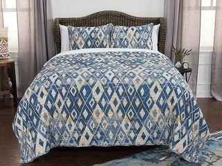 Blue Geometric Cotton Maddux Place King Quilt Set   Rizzy Home