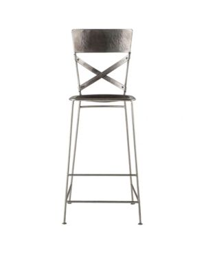 Reclaimed Antique Nickel Hammered Iron Barstool  Retail 469 99