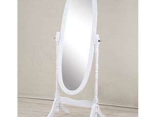 Roundhill Traditional Queen Anna Style Wood Floor Cheval Mirror  White Finish