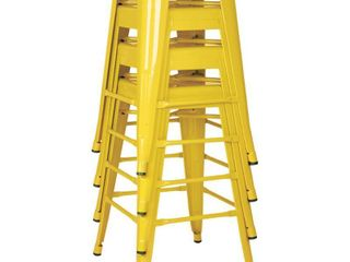 Yellow  24 inch Steel Backless Barstool  4 Pack  Retail 183 49