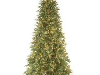 National Tree Pre lit 7 1 2  Feel Real Tiffany Fir Slim Hinged Artificial Christmas Tree with 600 Clear lights