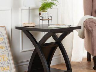 Furniture of America Hali Modern Espresso Solid Wood X base End Table  Retail 128 24