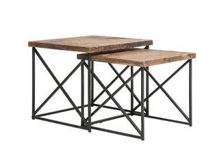 Argos Reclaimed Wood Nesting Tables  Set of 2  Retail 154 49