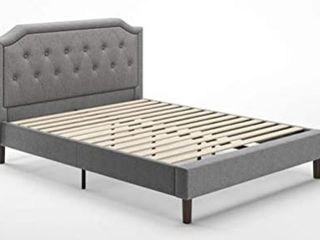 Zinus Kellen Upholstered Scalloped Button Tufted King Platform Bed