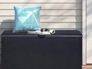 Zenova Outdoor Patio Deck 120 Gallon Storage Box UV Protected Resin  Retail  158 49