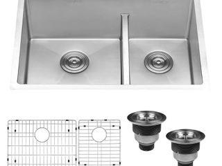 Ruvati 28 inch low Divide Undermount Tight Radius 60 40 Double Bowl 16 Gauge Stainless Steel Kitchen Sink