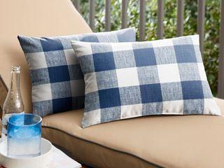Humble   Haute Dark Blue Buffalo Plaid Indoor Outdoor lumbar Pillow  Set of 2
