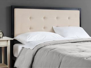 Priage by Zinus Button Tufted Taupe Upholstered Metal Queen Headboard  Retail 128 99