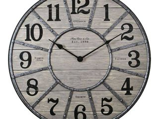 27 inch Cooper Farmhouse Wall Clock Gray   FirsTime  amp  Co