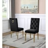 best quality furniture side dining chairs set of 2 black and golden