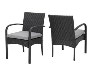 Outdoor Cordoba Wicker Dining Chair with Cushions  Set of 2  by Christopher Knight Home  Retail 197 99 grey
