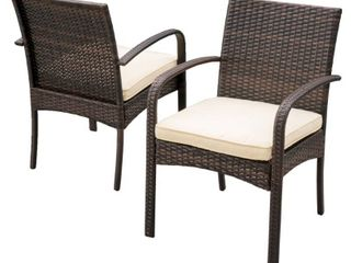 cordoba wicker outdoor cushioned dining chairs set of 2 by christopher knight multi brown and Cream Retail 203 99