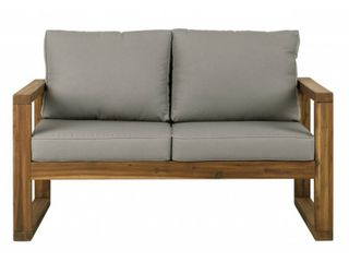 Walker Edison Patio loveseat with Cushions open side brown
