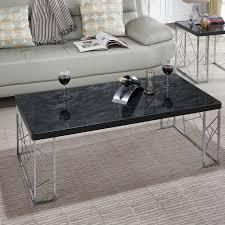 furniture of America silver orchid nolan black modern coffee table marble