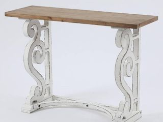 Wood Rustic Vintage Console and Entry Table  Retail 156 49 distressed white