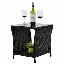 Wilminton Outdoor Square Wicker Side Table with Glass Top   Storage by Havenside Home black kinsunny