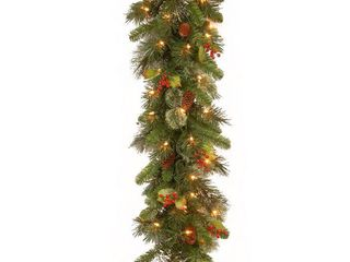 Wintry Faux Pine Pre lit 9 foot Garland with Cones and Red Berries
