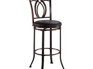 linon Khalifa Have Metal Swivel Bar Stool with Coffee Brown Seat  Retail 108 49 1 only