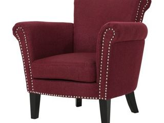 Brice Vintage Scroll Arm Studded Fabric Club Chair by Christopher Knight Home  Retail 224 49 wine