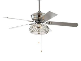 Crista 52  3 light Metal Wood lED Ceiling Fan  Chrome by JONATHAN Y