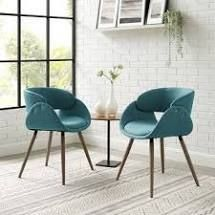 corvus mid century modern accent chairs teal blue with brown legs set of 2
