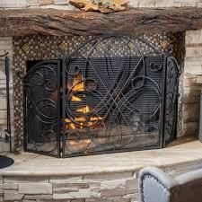 christopher knight home kingsford fireplace screen black with gold