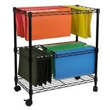 three tier metal rolling mobile file cart