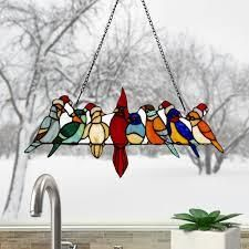 River of Goods Holiday Birds on a Wire Stained Glass Window Panel   23 25 l x 0 25 W x 9 H  Retail 75 27