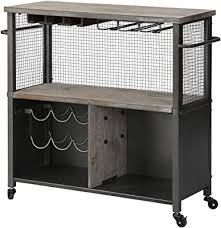 firsttime and co american designed silver chandler kitchen cart
