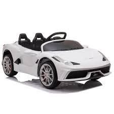 12 v ride on sports car with remote white