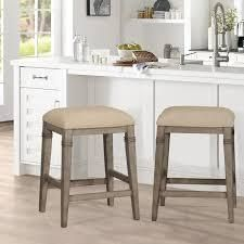 The Gray Barn Chatterly Backless Non swivel Counter Stool   18 5 W x 15 75 l x 25 25 H  Retail 108 49 1 only Distressed grey and acru fabric