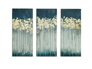 Set of 3  15  x 35  Midnight Forest Gel Coat Canvas with Gold Foil Embellishment Teal